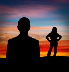 Business man and woman silhouette