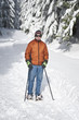 Senior man snowshoeing