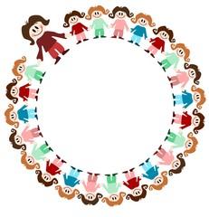 Illustration: Kinder im Kreis mit Erzieher
