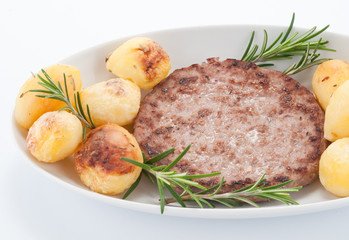 Hamburger con patate arrosto