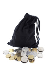 Drawstring Bag and Coins
