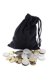Drawstring Bag and Coins