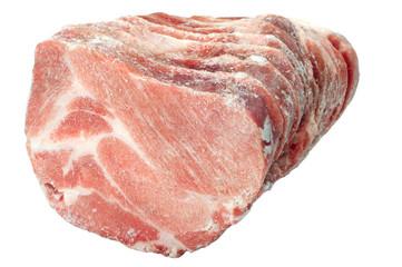 frozen pork chops on a white background