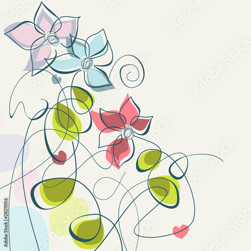 Tuinposter Abstract bloemen Floral pastel