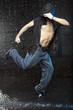Dancer in aqua studio