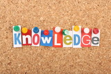 The word Knowledge in magazine letters on a notice board poster