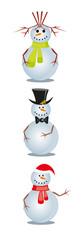 three christmas snowmans