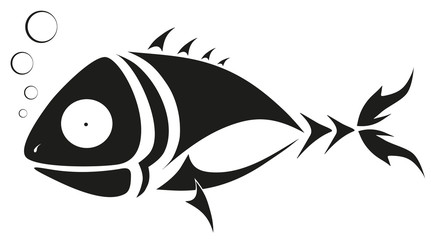 vector tattoo - black fish