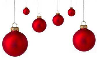Several red christmas baubles