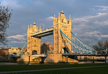 Tower Bridge, London, England, UK, Europe, winter sundown