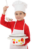 Smiling little chief-cooker with ladle and pot poster
