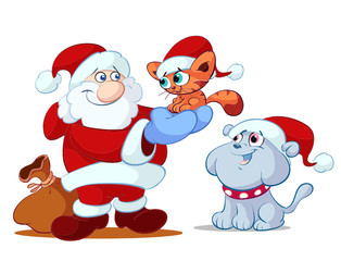 cat dog and santa