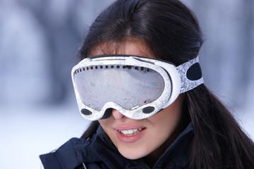 Caucasian woman going ski