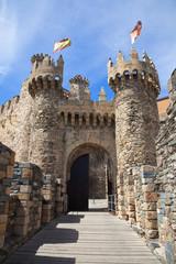 Medieval gate in the templar castle of Ponferrada, Leon, Spain