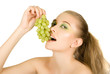 woman with grape