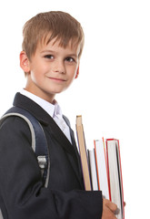 Boy holding books