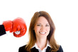 Smiling White Woman Unaware About to be Punched by Boxing Glove