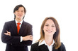 Smiling Caucasian Business Woman Asian man Team Isolated