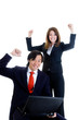 Happy Business Team Asian Man Caucasian Woman Cheering Laptop