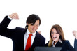 Happy Business Team Asian Man Caucasian Woman Cheering at Laptop