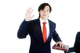 Asian Man Raise Hand Swearing on Bible Isolated White Background poster