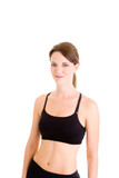 Smiling Slender Caucasian Woman Sports Bra Isolated Background poster