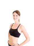 Slender Caucasian Woman in Sports Bra Smiling White Background poster