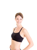 Slender Cauasian Woman Sports Bra Smiling Isolated Background poster