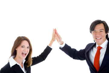 Happy Business Team, Asian Man Caucasian Woman High Five