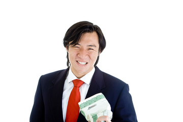 Asian Man Grimacing Crushing Stock Certificate White Background