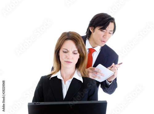 Asian Man Looking Over Shoulder Surfing Copying Caucasian Woman