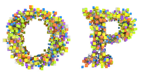 Abstract cubic font O and P letters