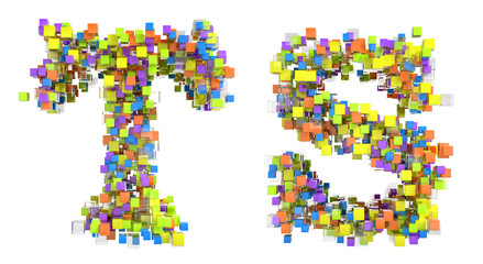 Abstract cubic font T and S letters