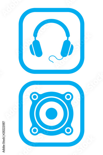 Headphones and Speaker Icons