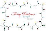 Fototapety Christmas lights frame isolated on white background with copy sp