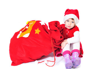 santa helper with bag of gifts