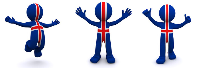 3d character textured with flag of Iceland