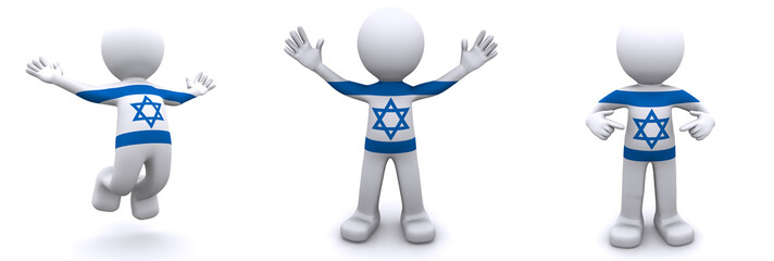 3d character textured with flag of Israel