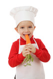 Little smiling chief-cooker with carrot, isolated on white poster