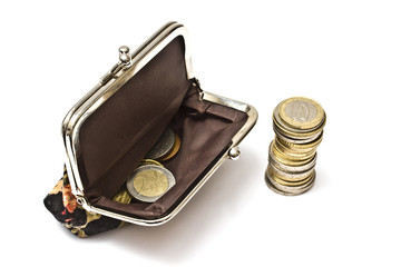 Beautiful purse with coins