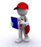 Fototapety 3d character writing in notepad