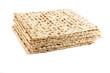Jewish Passover holiday ritual food - matza on white background