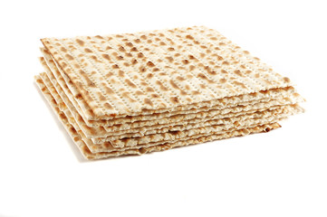Jewish Passover holiday ritual food - matza on white background