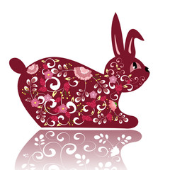 Decorative red flower bunny
