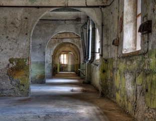 View inside an abandoned prison.