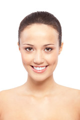 Schöne junge Frau mit Sommersprossen Portrait