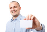 Young businessman giving business-card