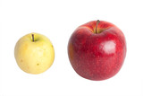 Rotten apple and fresh apple on a white background poster