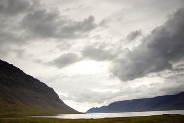 Dynjandisvogur fjord - Iceland. Rainy day.