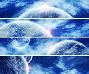 Banner collection of blue space planet